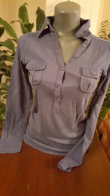 Plava bluza sa koznim detaljima - Pozarevac