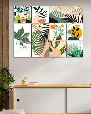 Eviniz üçün modern 9 hissəli tabloÖlçülər : 6 hissə 15×15sm-dir3 hissə