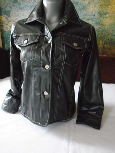 Crna jaknica za prelazni period od imitacije kože - spolja polivinil, - Belgrade