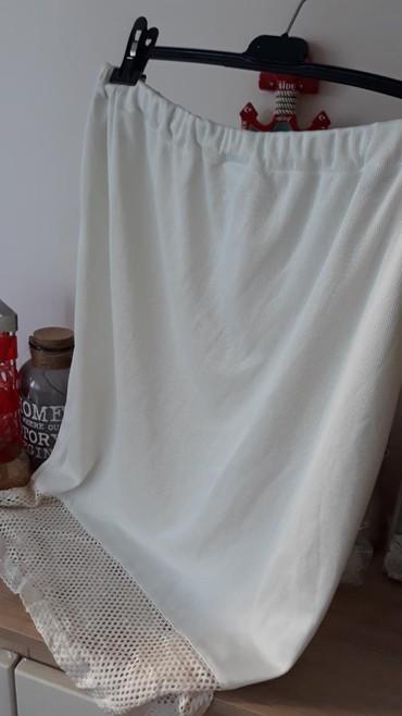 Svileni suknja - Srbija: ROMANTICNA bež suknja vel.44 sa cipkom od SVILENOG KONCA