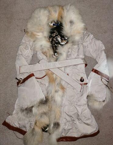 Italijanska jakna sa prirodnim krznom lisice, i kožnim detaljima