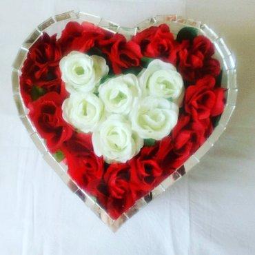 Ukrasi za groblje - cveće u staklu (veliko stakleno srce) ručni rad, k - Beograd