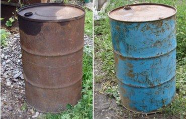 Продаю Железные бочки 200л вес - 27кг, 220л вес - 22 кг (синяя) под в Беловодское