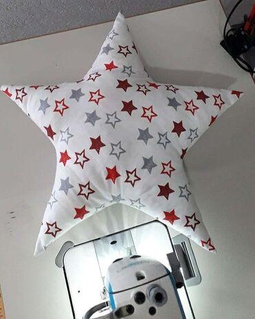 Nameštaj - Smederevska Palanka: Dekorartivni jastucic u obliku zvezde izradjen od pamucnog platna