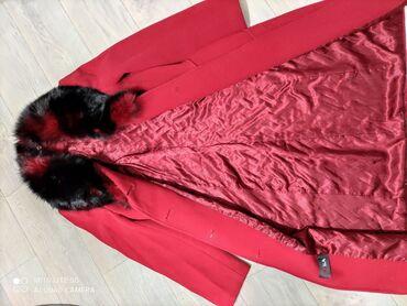 черно белое платье в пол в Кыргызстан: Пальто красного цвета,мех натуральный можно на теплую зиму в хорошем