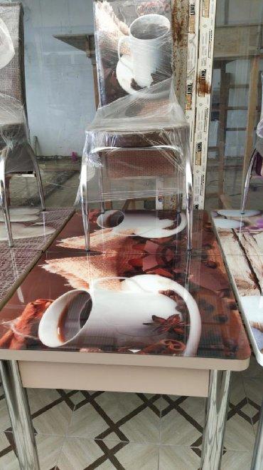 деревянный кухонный стол в Азербайджан: КУХОННЫЙ СТОЛ И 4 СТУЛА РАЗМЕР 110х70см.ПРИ УДЛИНЕНИИ 140 см С