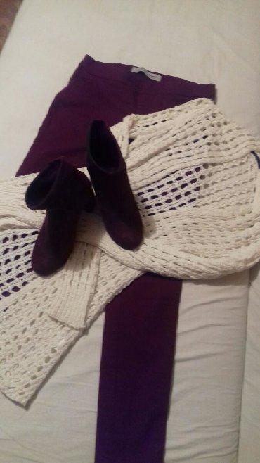 Beli-kardigan - Srbija: Bordi helan pantalone sa malo elastina,beli kardigan od teskog pamuka