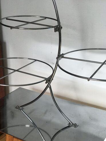 1. Подставка для пирожных и тортов. Хромированный металл. 4 яруса