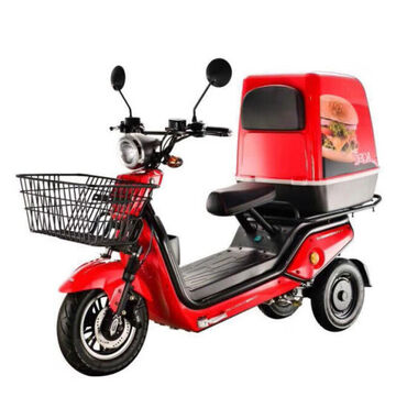 Three Wheel Electric Pizza Delivery Tricycle Scooter Motorcycle Tirke