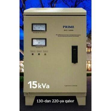 Elektrik malları - Azərbaycan: Stabilizator PRIME SVC 15000tek wexsiyyet vesiqesi