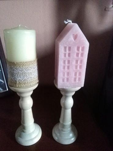Svecnjaci drveni dva komada ko voli taj stil,svece ne idu uz njih - Sombor