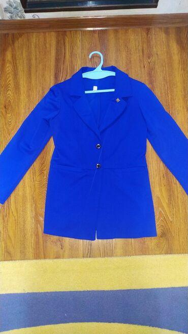 Пиджак, трикотаж плотный, большой размер 48-50, ярко синего цвета