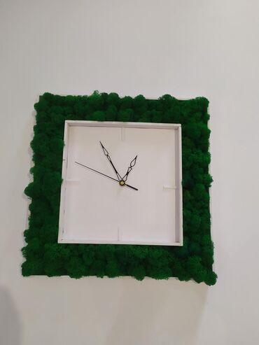 Часы для дома будильник  Изделия с мхом  ЭКО Часы живой мох Самое доро