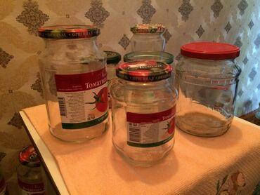 Другая посуда в Кыргызстан: Продаю стеклянные 1 л. банки из-под томатной пасты Айлана, маленькие