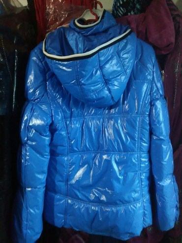 женские ветровки с капюшоном в Азербайджан: Куртка синяя.тип болонка.с капюшоном.на замочке сверху вкладка.по