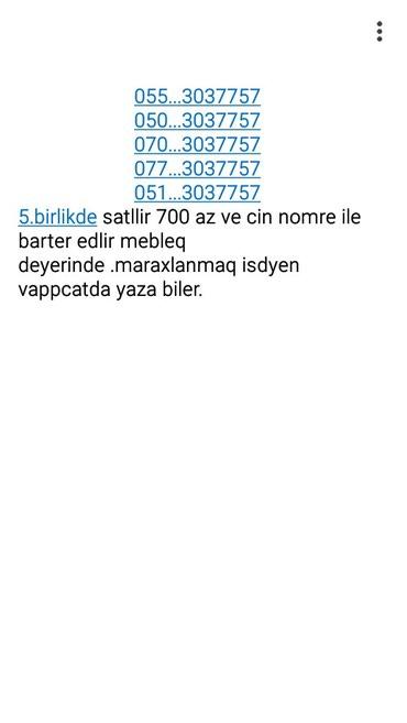 Şəmkir şəhərində 5.birlikde satllir ve barter edlir isdyen vappcatda yaza biler .