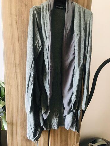 Женская одежда - Милянфан: Серый кардиган с шёлком.Италия.46 размера