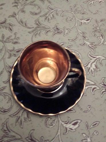 Bakı şəhərində Türk kahve desti içi sarı qızılı /bir fincanında az sınıq var