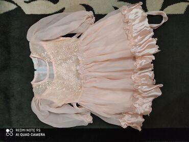 Платье нарядное, рукава из шифона, персиковый цвет, б/у. На 3-4