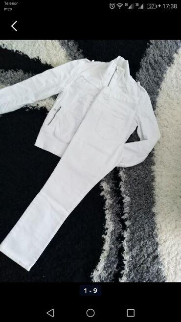 Pantalone i farmerice komad - Srbija: Komplet u beloj boji, farmerice i jaknica, vel. 38 ili M, u odličnom