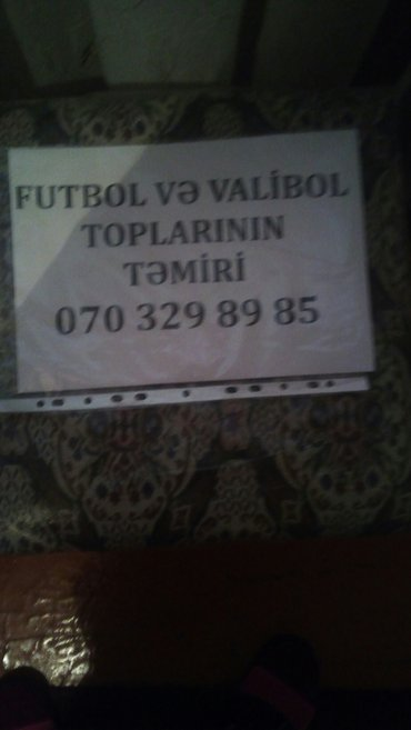 Bakı şəhərində Futbol va voleybol toplarinin tamiri va satiwi.