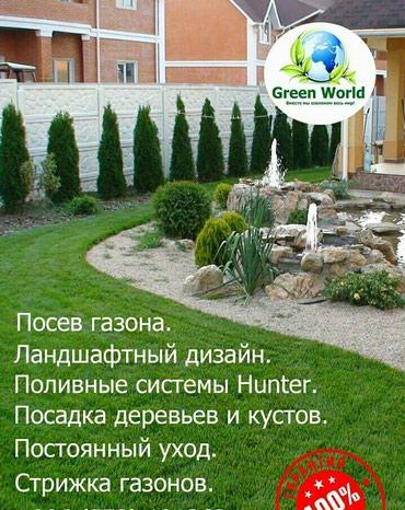 система пожарной сигнализации в Кыргызстан: Газон газон Озеленение Ландшафтный дизайн. Посев газона качество 100%