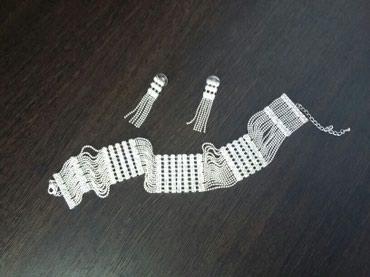 Нобор колье и серьги из белого металла, цена 300 сомов. в Бишкек