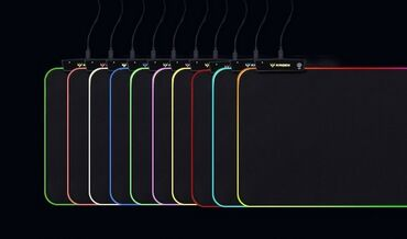 Коврик игровой светящийся RS-02, мягкий тканевый с беспроводной