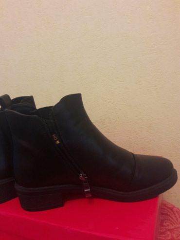 Черные-Дэми ботинки, Кожа-фабричный Пекин, 36-размер. Новые. в Бишкек