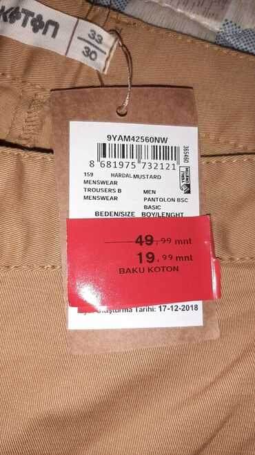 buick century 33 at - Azərbaycan: Kişi şalvarları koton ölçüsü M / l (30-33). Boyu 1.85sm olan uzun boyl