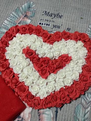 Свадебные аксессуары - Новый - Бишкек: Большое свадебное Сердце на машину на магните+красный фатин для декора