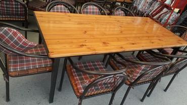 açılıb yığılan oturacaqlar kreslolar - Azərbaycan: Masa ve oturacaq desti 220×100 st. 8 kreslo