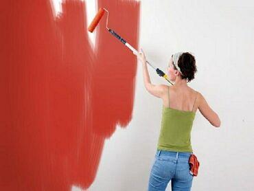 Покраска стен эмульсией. Наклейка Обоев обои. Вероника