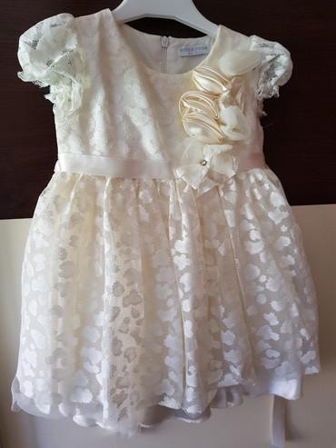 Haljina sampanjac boje za devojcice, 9m-12m, jednom obucena, pufnasta - Kraljevo