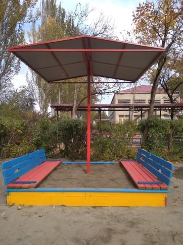 ремонт деревянных изделий в Кыргызстан: Закрывающиеся песочницы с грибком! Изготовление деревянных песочниц