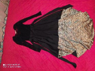 вечернее леопардовое платье в Кыргызстан: Вечернее чёрное платье вверх гипюр спереди короткое а сзади