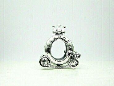 Pandora Privezak Kocija sa krunom,cisto srebro zig ale s925