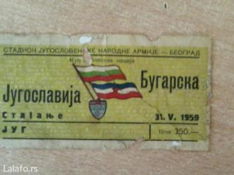 Karta za fudbalsku utakmicu iz 1959 godine - Beograd