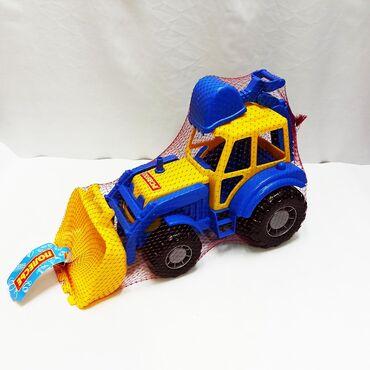 детские игрушки 3 в Кыргызстан: Детский большой трактор Полесье с 2 подвижными ковшами и