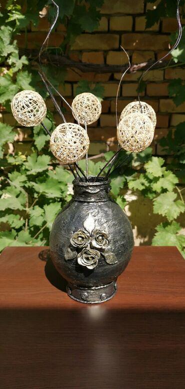Kućni dekor - Ruski Krstur: Vaza za suvo cveceVaza sa ukrasima od hladnog porcelana, rucni rad
