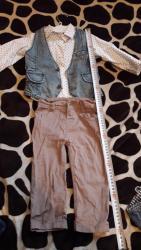 детские-костюмчики в Кыргызстан: Детская тройка костюмчик рубашка штаны и безуркавка джинсовая. для