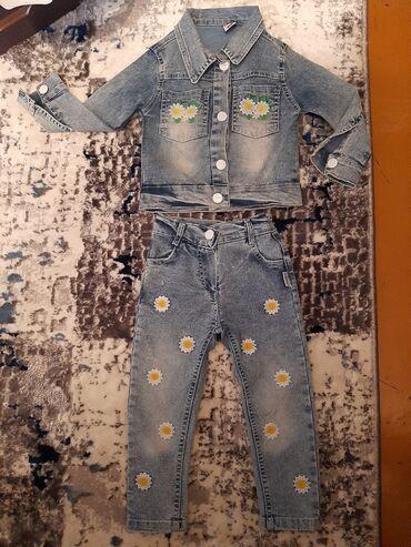 джинсовый костюм детский в Кыргызстан: Детский джинсовый костюм на девочку, написано на рост 100 см, но