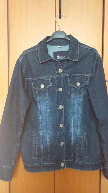 Ocuvana zenska teksas jakna,naknadno nasiven i rajfeslus.Vel.xxl.Cena