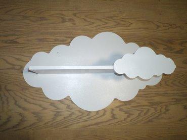 Polica oblak od drveta za dečiju sobu zaštičena ekološkom bojom. - Kovin