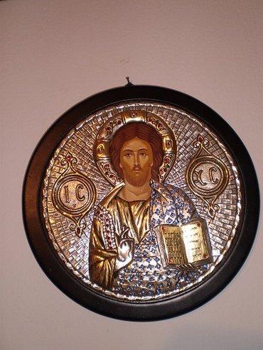 Χειροποίητη αγιογραφία Χριστού, ασημένια (9,25) και επιχρυσωμένη (GOLD