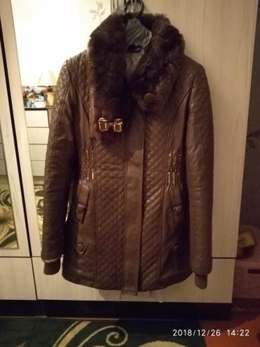 Куртка кожанная женская коричневая в в Кок-Ой