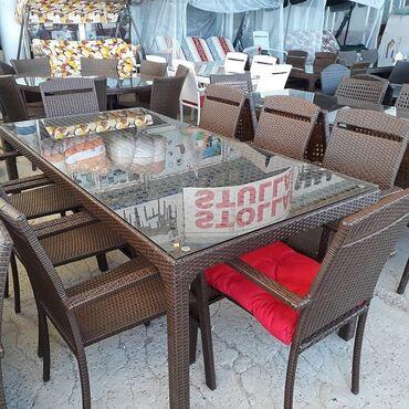 Bağ mebeli - Azərbaycan: 8 neferlik  Bag ucun stol stul Hesir