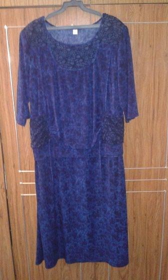 Платье темно-синее, трикотажное, размер 54-56. Кыргызстан, новое. в Бишкек