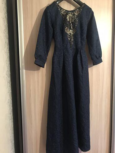 вечернее платье темно синего в Кыргызстан: Темно-синее платье,ткань плотная,но легкая.На рост 165-170