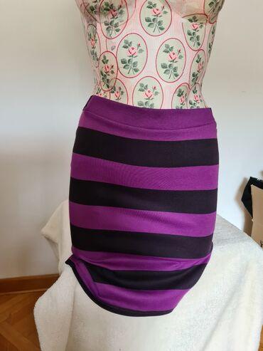 Duzina cm crni - Srbija: Teranova suknja na pruge, ljubicasto - crna. S velicina.Duzina suknje